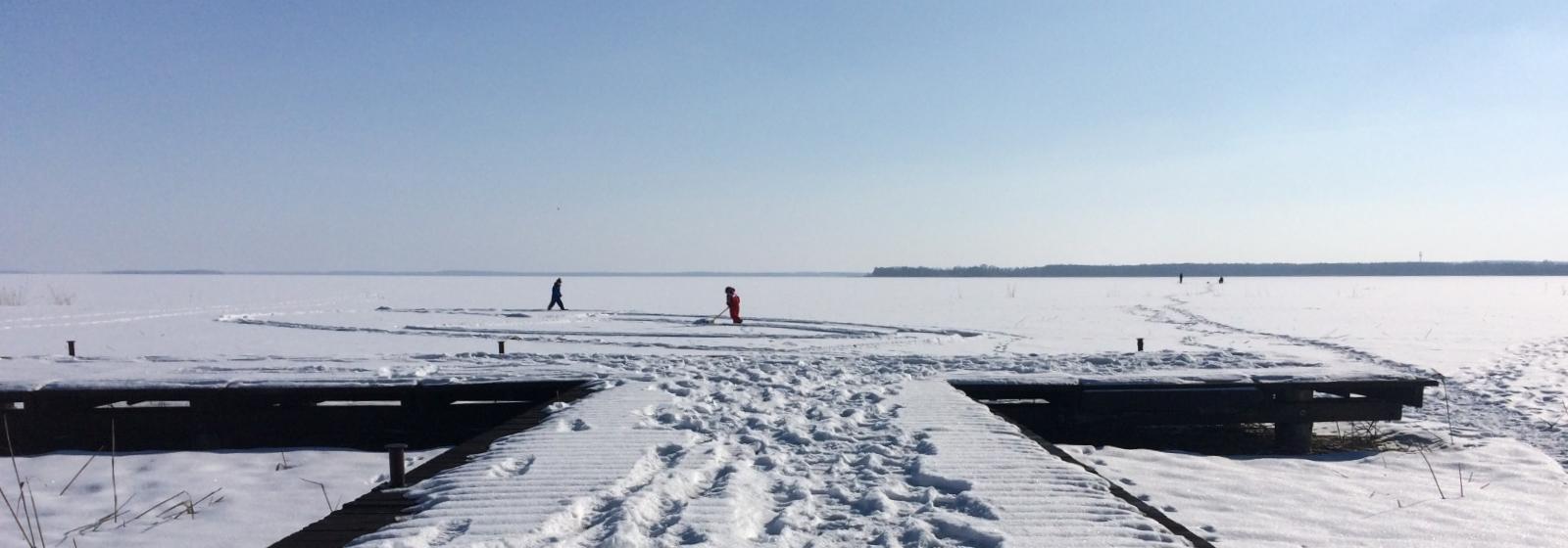 Zima nad jeziorem Śniardwy, Łuknajno